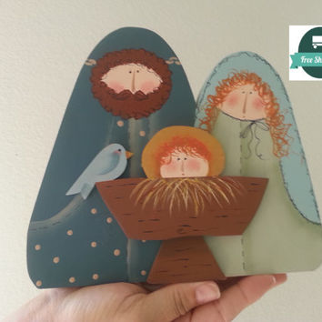 Nativity Painted Wood Christmas Decoration, Vintage Mantle Ornament, Country Rustic Charming FREE US Shipping