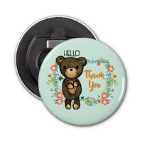 Cute Bear, Yellow Flower & Floral Wreath Thank You Bottle Opener