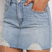 Denim High Rise Distressed Skirt