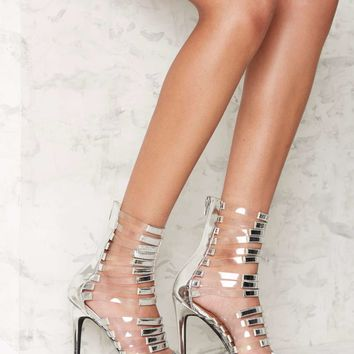 Nasty Gal Fit to Kill Strappy Heel - Silver Metallic