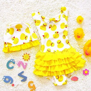 2018 baby girl cute duck skirt swimsuit one piece bikinis Biquini Set Bathing Suit Beach for 1-9 years old kids children