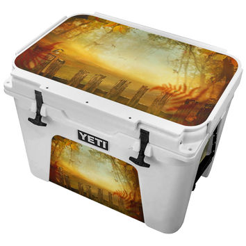 Autumn Bird Perched Picket Fence Skin for the Yeti Tundra Cooler