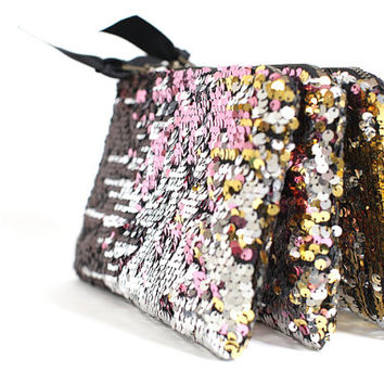 Sparkle sequin zip clutch purse, READY TO SHIP, silver and gold