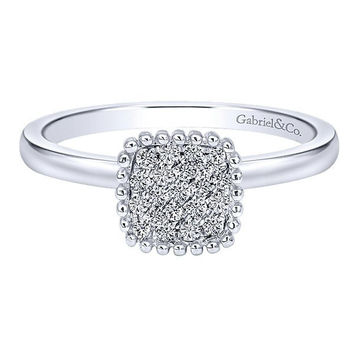Diamond Cushion Shaped Cluster Top Ring with 1/6cttw of Diamonds