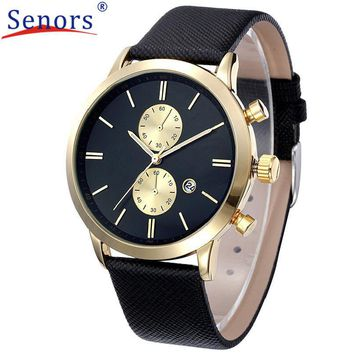 2017 1PC Fashion Waterproof Men Casual Date Leather Military Watch Gift Business Digital Copper Leather Military Watch
