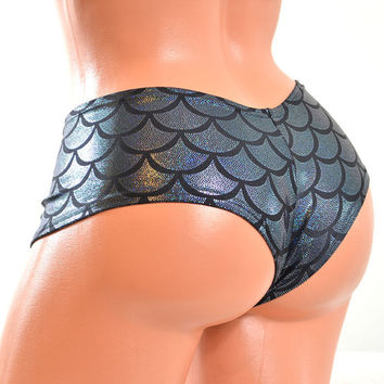 Black Metallic Mermaid Scale Lowrise Ultra Cheeky Booty Shorts Hot Pants Cheekies -E7430