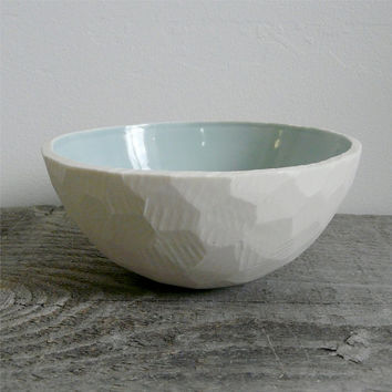 Geometric Porcelain Cereal Bowl, Handmade with Celadon Glaze