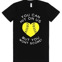 You Can Hit On Us But You Won't Score! (Dark)-Female Black T-Shirt