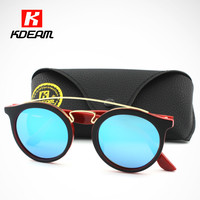 Great Quality Polarized Sunglasses Round Vintage Chic Steampunk Glasses Men Women Gold Double Bridge lentes de sol hombre 4256