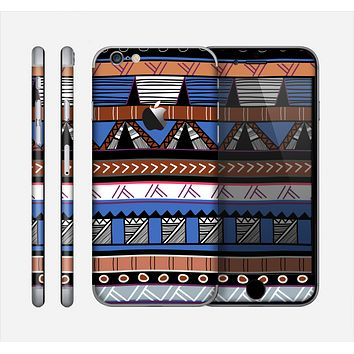 The Abstract Blue and Brown Shaped Aztec Skin for the Apple iPhone 6
