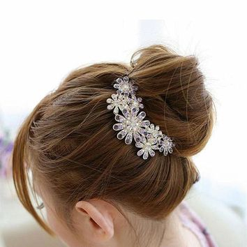 TS321 Genuine Crystal Inlaid Imitation Luxury Dish Hair Plug Inserted Comb Hair For women