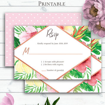 Tropical Wedding RSVP Card, Customize, Summer Wedding, Havaiian, Palm Leaf, Enclosure Card, Printable RSVP, Watercolour