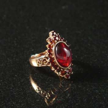 Garnet Ring, Sterling Silver, Vermeil Gold, Size 7, Estate Jewelry, Cocktail Ring, Garnet Cabochon, Victorian Revival, Ring, Womens Ring
