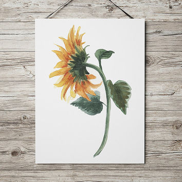 Sunflower poster Watercolor print Flower print Botanical decor ACW636