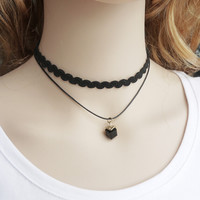Womens Square Necklace Black Lace Choker + Gift Box 19