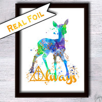 Harry Potter real foil poster Always Harry Potter print Harry Potter watercolor decor Home decoration Kids room wall decor Gift idea G102