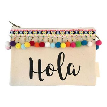 HOLA CANVAS POM POM COSMETIC BAG