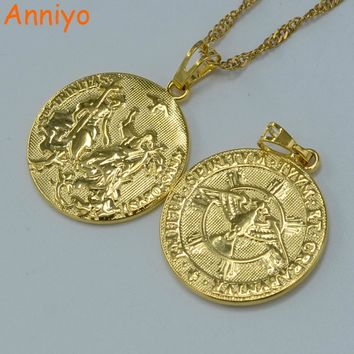 Anniyo Holy Spirit Cupid Jesus Necklace Pendant Gold Color Cross Necklaces for Women Men,Christianity Religious Jewelry #050704