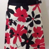 Final Touch Skirt Sz S Large Floral Print A-Line Knee Length Red Black White