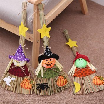 Cartoon Witch Pumpkin Ghost Kid Pendant Sunny Doll Broom Halloween Decoration Bar Party Room Ornament Restaurant Layout Supplies