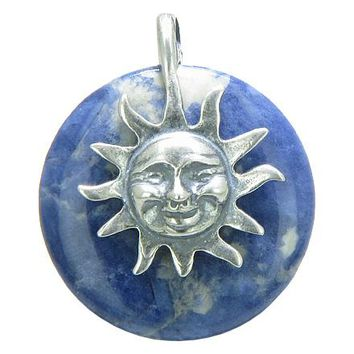 Positive Energy Happy Sun Good Luck Magic Amulet Lucky Donut Sodalite Sterling Silver Pendant