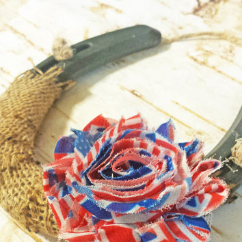 Patriotic Shabby Chic Horseshoe, 4th of July Decor, Burlap and Red White Blue Stars and Stripes Flower, Western Decor, Good Luck Horseshoe