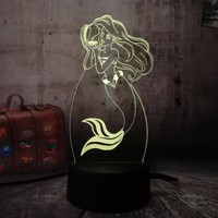 Children's Day Gift The Little Mermaid Princess 7 Color Changing 3D LED Baby Night Light Desk Lamp Home Decor Party Kids Toys