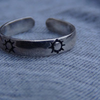 Stamped 925 Sterling Silver Adjustable Sun Toe Ring