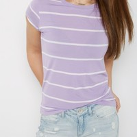 Navy Pencil Striped Ringer Tee | Short Sleeve | rue21