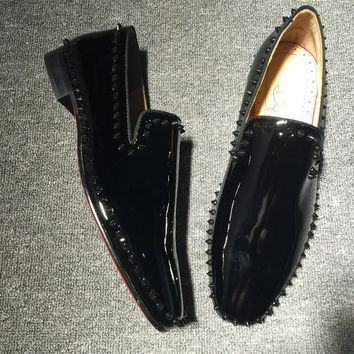 KUYOU Christian Louboutin Slip On CL fashion casual shoes red sole for men and women jeans 90522