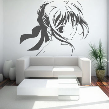 Wall Decor Vinyl Sticker Room Decal Girl Anime Manga Comics Children Beauty Bow Ribbon Tape Head Eyes (s107)