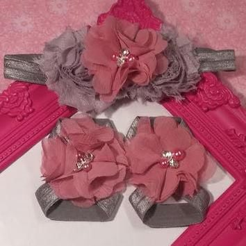 Gray Shabby and Mauve Rhinestone and Pearl Chiffon Flower Baby Girl Headband and Baref