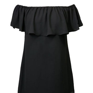 Black Off Shoulder Ruffle Shift Dress