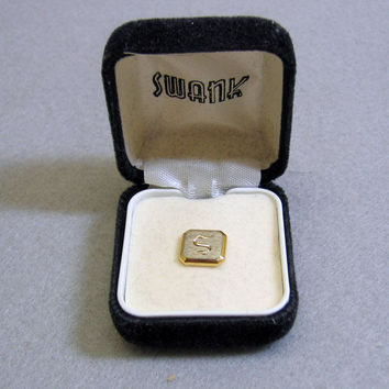 Vintage Mint in Box Swank Letter S Tie Tack