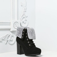 Black Suedette Faux Fur Fold Over Platform Boots