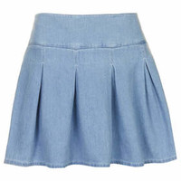 MOTO Denim Kilt Skirt - Bleach Stone
