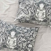 Plum & Bow Buddha Painting Pillowcase Set- Black & White One
