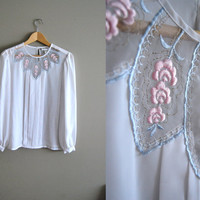 The White Rose - Vintage 80s White sheer Pleated Blouse Embroidered Flower Collar Top