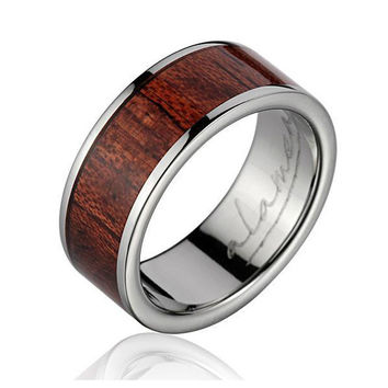 LEX Men's Titanium Wedding Band With Genuine Hawaiian Koa Wood Inlay 8mm
