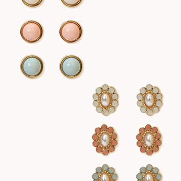 FOREVER 21 Rhinestoned Pearlescent Dome Studs Cream/Mint One