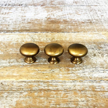 Drawer Knobs 3 Drawer Pulls Brushed Brass Cabinet Knobs Heavy Patina Drawer Pulls Dresser Drawer Hardware Mid Century Modern Drawer Pulls