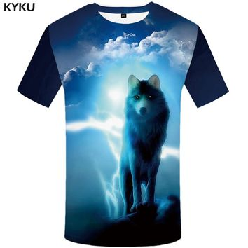 e4a85bdbafe1 KYKU Brand Wolf T Shirt Men Animal Tshirt Punk Rock Clothes Clou