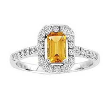 1/8 Carat Emerald Cut Citrine & Diamond 10k White Gold Ring: Ring Size: 6