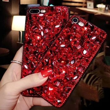 Tide brand Rhinestone iPhoneX Mobile Shell iPhone7plus Creative Drop protection shell F-OF-SJK