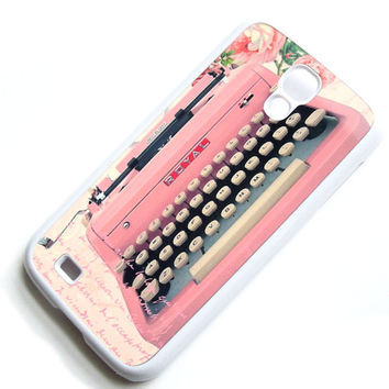 Vintage Pink Typewriter Galaxy S4 Case - White Hard Case - Samsung Galaxy S4 Case