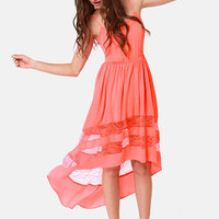 Simply Marvel-Lace Coral High-Low Lace Dress