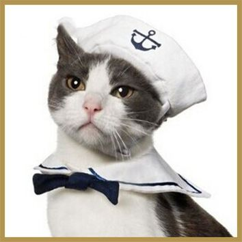 Christmas Cat Clothes Costume Clothing for Cats Kitten with Hats Bow Tie Funny Dressing Up Navy Sailor Suit Pet Accessories