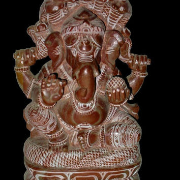 Good Luck Ganesha Sculptures Hand Carved Yoga Decor Statue 8 Inch