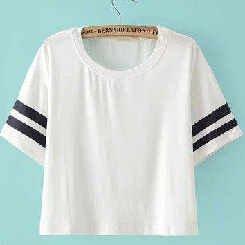fc411e9d8 White Striped Short Sleeve Crop Top from Augustine s