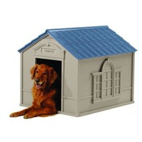 Outdoor Dog House in Taupe & Blue Roof Durable Resin - For Dogs up to 100 lbs.